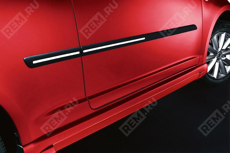 Молдинги боковых дверей, черные с серебристыми вставками 990E062J79000