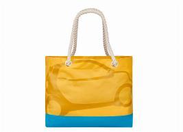 Фото Пляжная сумка, оранжево-бирюзовая, полиэстер B67993595